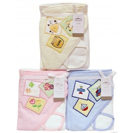 Hooded Towel and Facecloth Set - Blocks