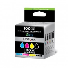 Lexmark 100XL Black, Colour (CMYK) High Yield Return Program Cartridges (14N1921)