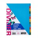 Meeco Indexes Board 160gsm Multi Colour Jan - Dec Printed