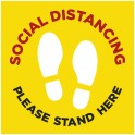 Social Distancing Floor Decal Square - Yellow - Set of 3