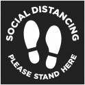 Social Distancing Floor Decal Square - Black - Set of 3
