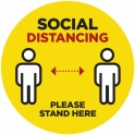Social Distancing Floor Decal Round - Yellow - Set of 3