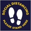 Social Distancing Floor Decal Square - Navy - Set of 3
