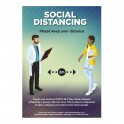 Social Distancing Poster A1 - Blue - Set of 3