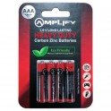 Amplify 1.5V Long Lasting Heavy Duty Carbon Zinc Batteries 4 pack