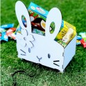 Easter Bunny Pull Cart on Wheels with Flower